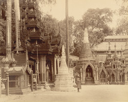 Shrines at the Shwe Dagon Pagoda, Rangoon